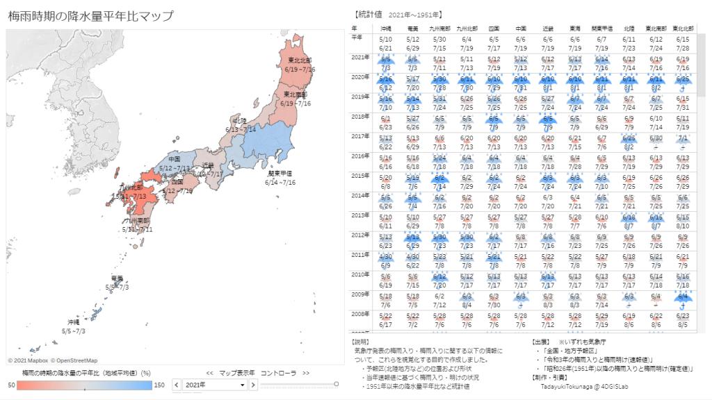 梅雨時期の降水量平年比マップ